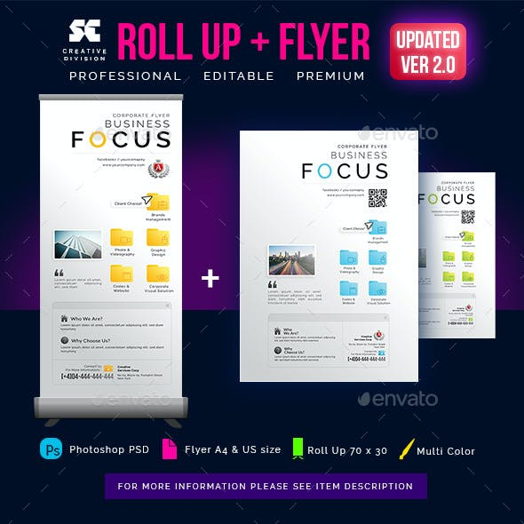 Creative Corporate Roll Up Banner + Flyer