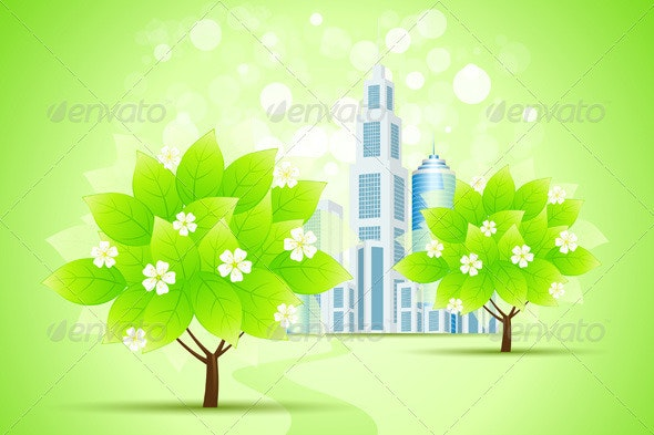 Green Trees and City - Backgrounds Decorative