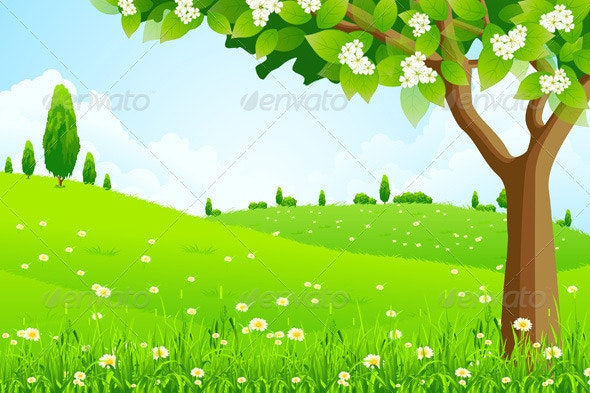 Green Landscape with  Tree - Backgrounds Decorative