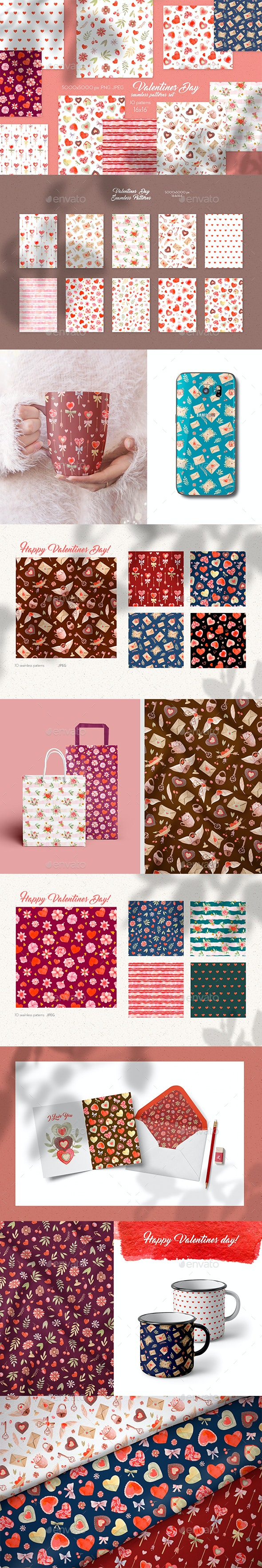 Valentines Day Seamless Patterns - Patterns Backgrounds