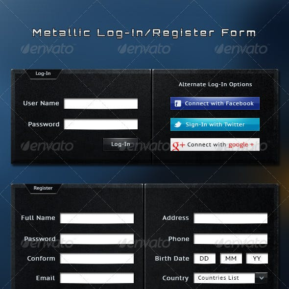 Metallic Log-In / Registration Form