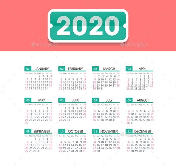 Calendar 2020 year. Week starts from Sunday - Valentines Seasons/Holidays