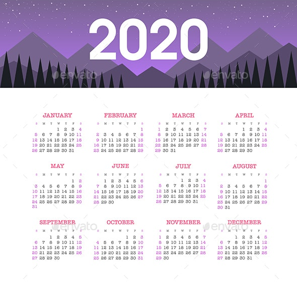 Calendar 2020 year with Mountain Landscape. Week starts from Sunday - Valentines Seasons/Holidays