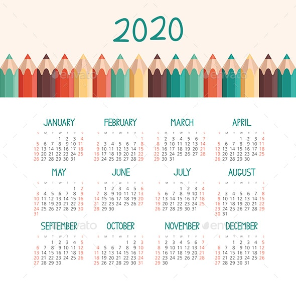 Calendar 2020 year. Week starts from Sunday - Valentines Seasons/Holidays