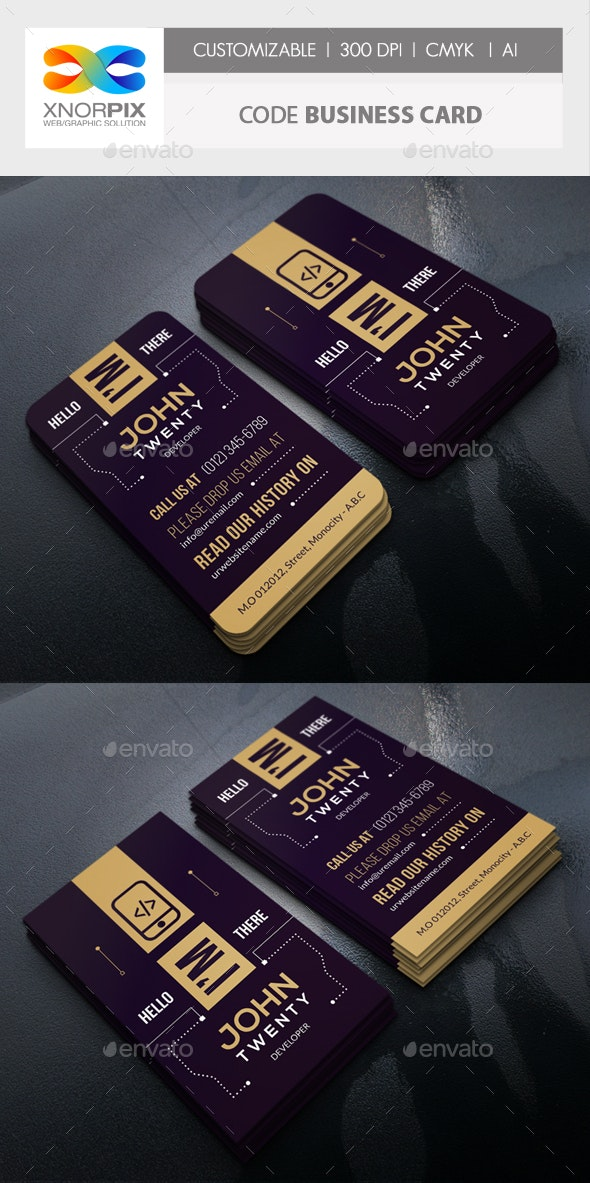 Code Business Card - Creative Business Cards