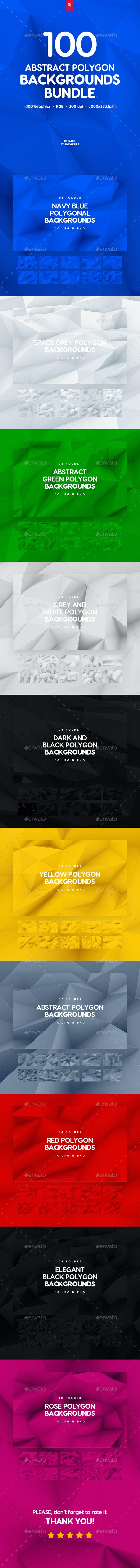 100 Different Abstract 3D Polygon Backgrounds Bundle - Abstract Backgrounds