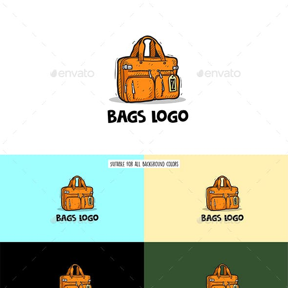 Bag cartoon hand drawn logo