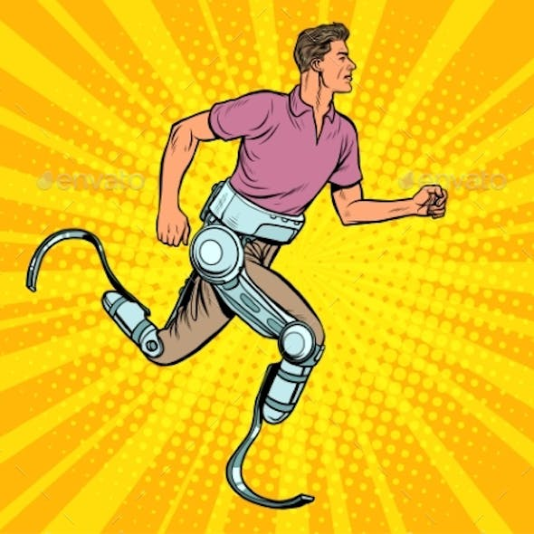 Disabled Man Running with Legs Prostheses