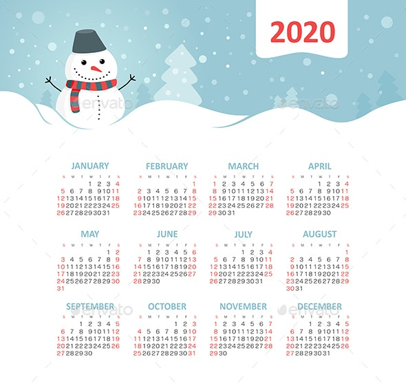 Calendar 2020 year with snowman - Web Icons
