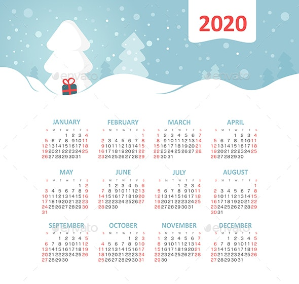 Calendar 2020 year with Christmas tree - Web Icons