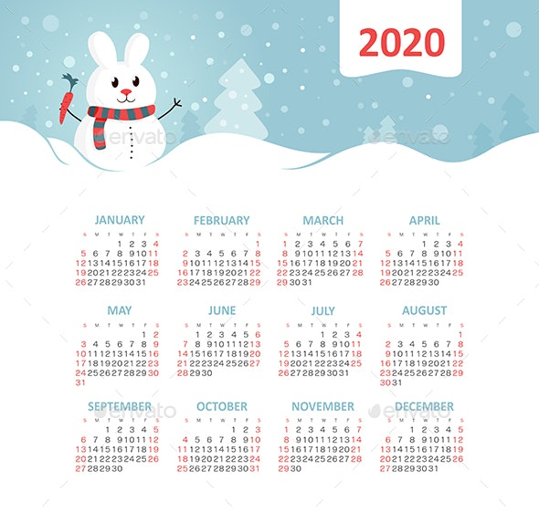Calendar 2020 year with a rabbit - Web Icons