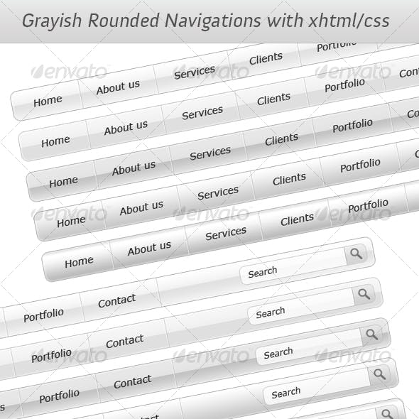 Grayish Rounded Navigations with XHTML/CSS- Vol.5