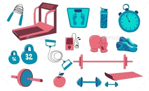 Fitness Equipment Set - Sports/Activity Conceptual