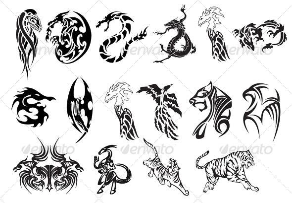 Animal Tattoo Set - Tattoos Vectors