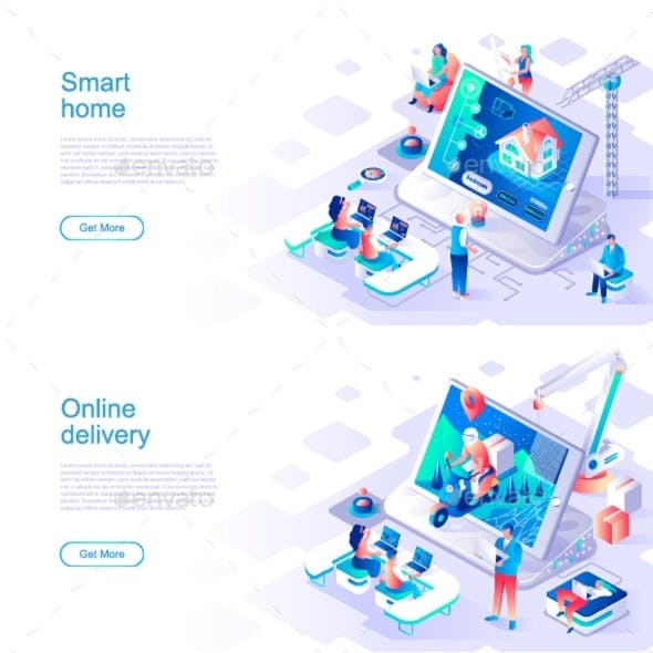 Isometric Landing Page Template Header