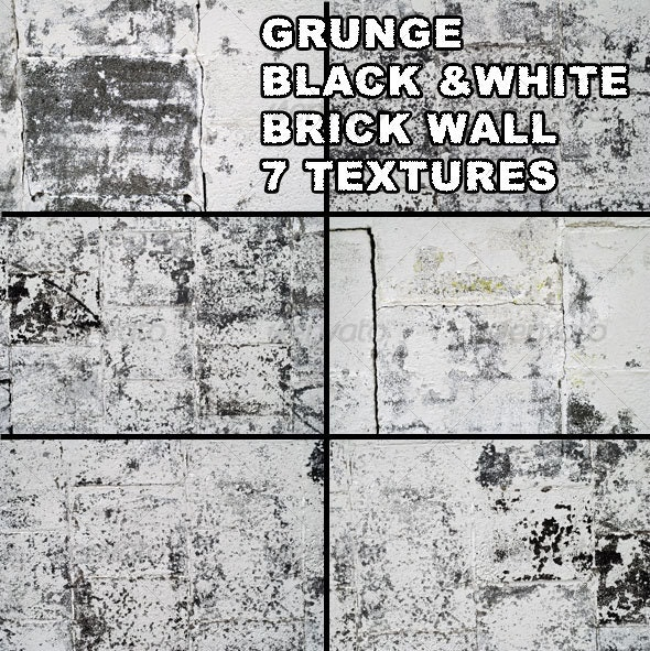 Grunge black & white brick wall - Industrial / Grunge Textures