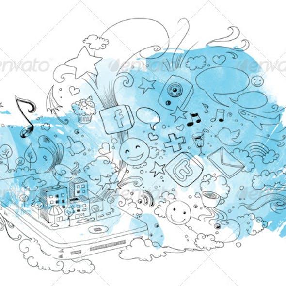 Hand Drawn Sketchy Social Media Illustration
