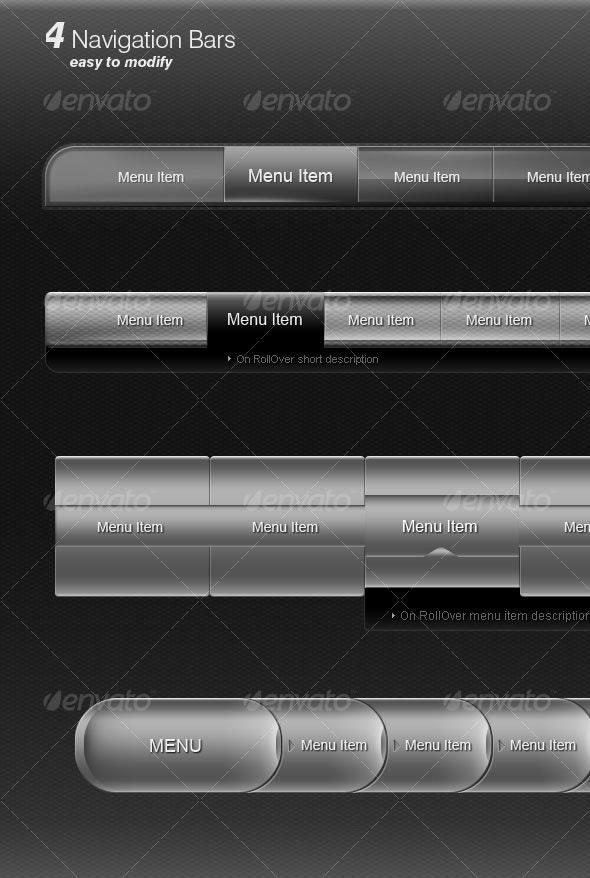Metallic navigation bars - Web Elements