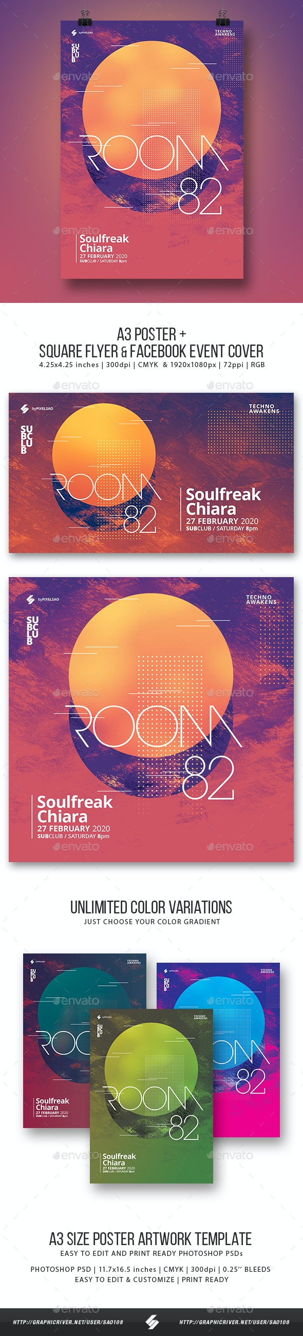 Room 82 - Minimal Party Flyer / Poster Artwork Template A3 - Clubs & Parties Events