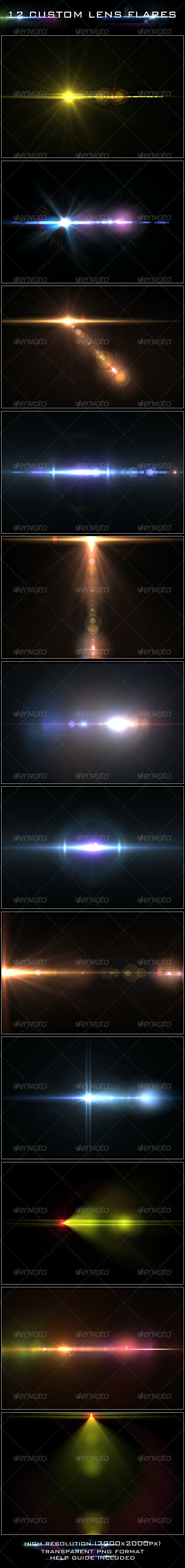 12 Custom Lens Flares - Miscellaneous Backgrounds