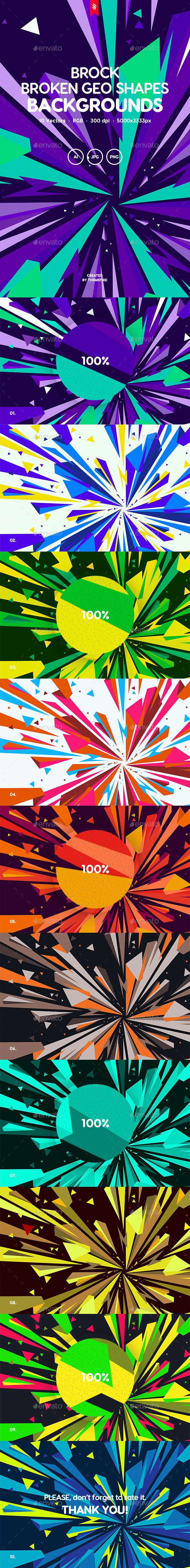 Brock - Broken Geometric Shapes Backgrounds - Abstract Backgrounds