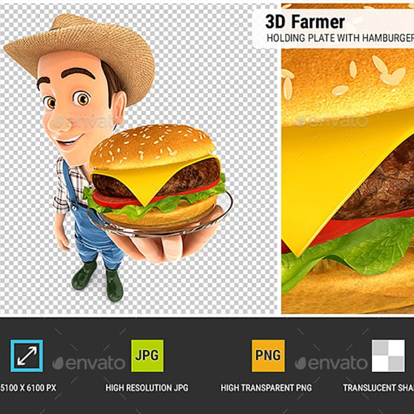 3D Farmer Holding Plate with Hamburger