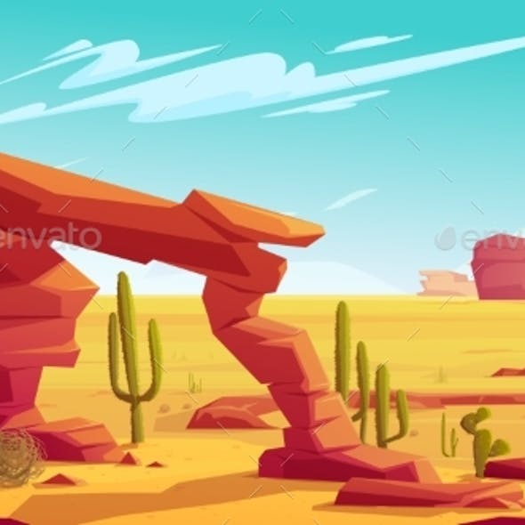 Desert Arch and Tumbleweed on Natural Landscape