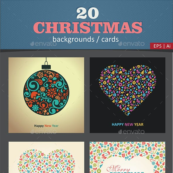 20 Christmas Cards / Backgrounds Vector