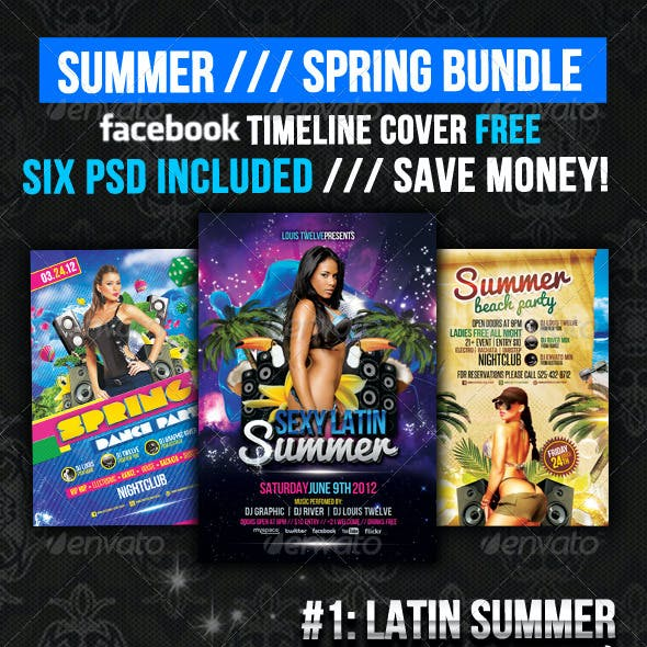 Summer and Spring Bundle Flyer + Fb Timeline