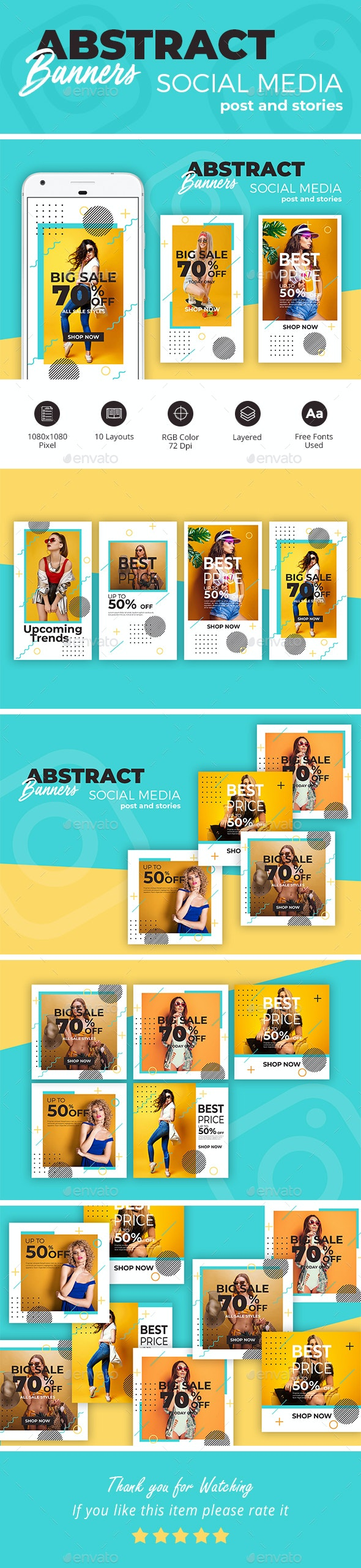 Abstract Sale Banners - Miscellaneous Social Media
