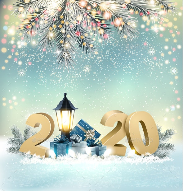 Merry Christmas Background with 2020 and Gift Boxes Vector by almoond