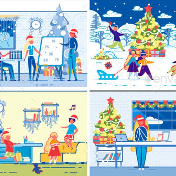 Children Winter Christmas Holidays Leisure Set