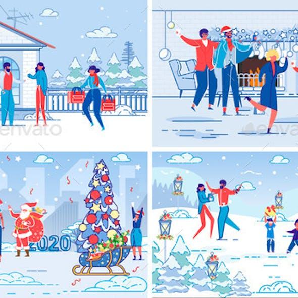 Christmas and New Year Holidays Celebration Set