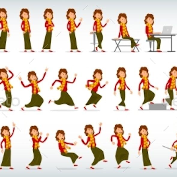 Cartoon Flat Girl Character Vector Set