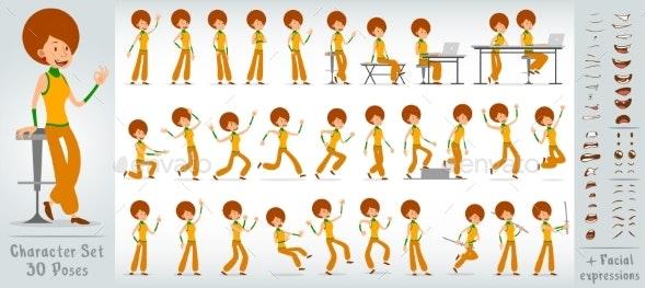 Cartoon Flat Disco Girl Character Vector Set - People Characters