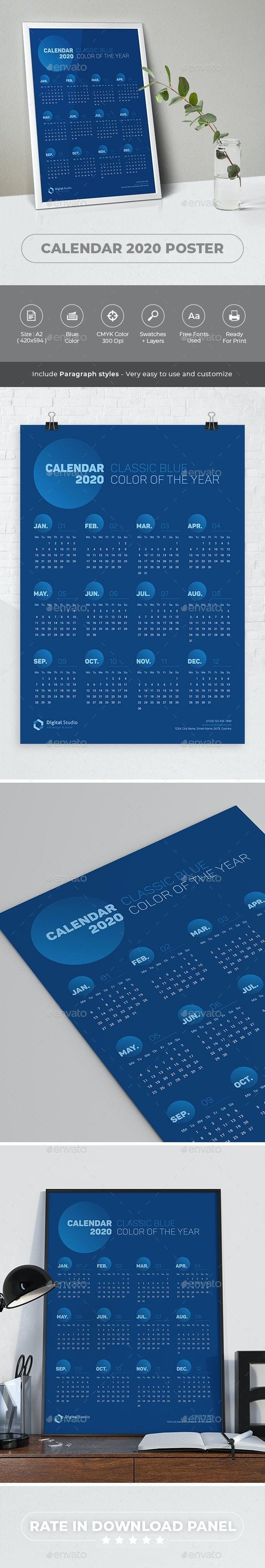 Calendar 2020 Poster - Calendars Stationery