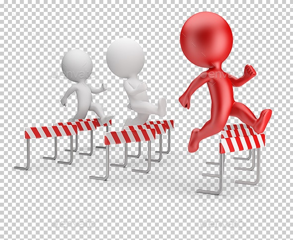 3D Small People - Running with Obstacles - Characters 3D Renders