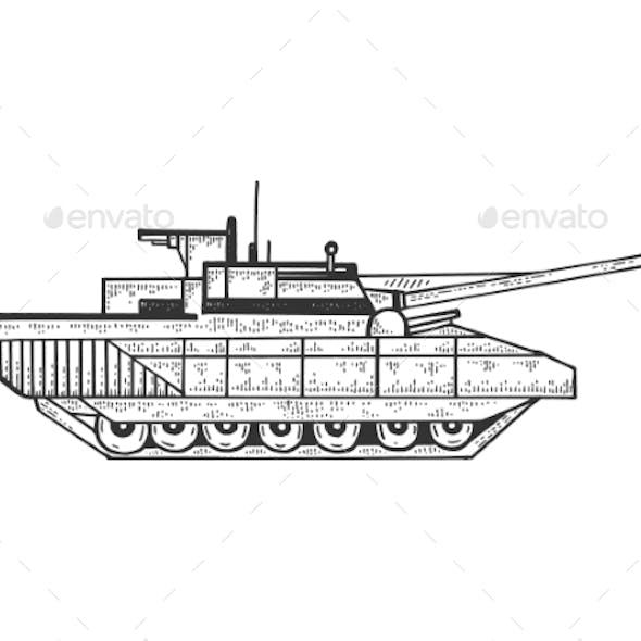 Tank Sketch Engraving Vector Illustration