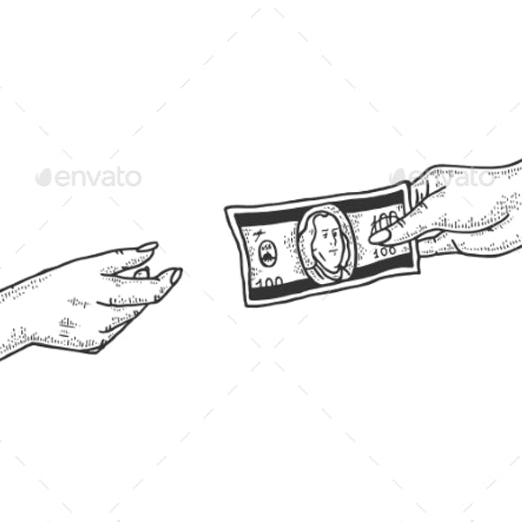 Hand Gives Dollar Money Sketch Engraving Vector