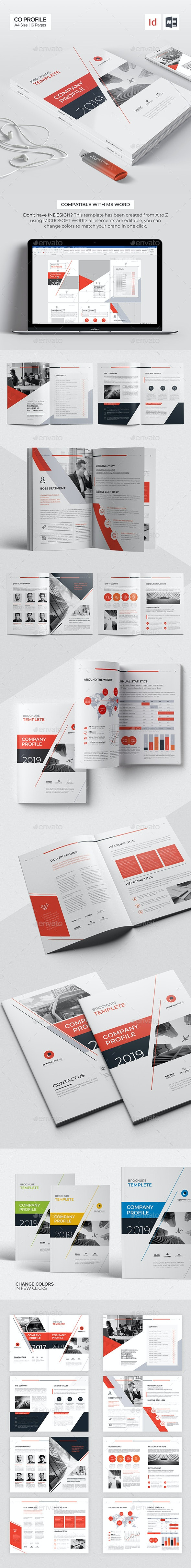 Company Profile 16 Pages, Word Brochure Template