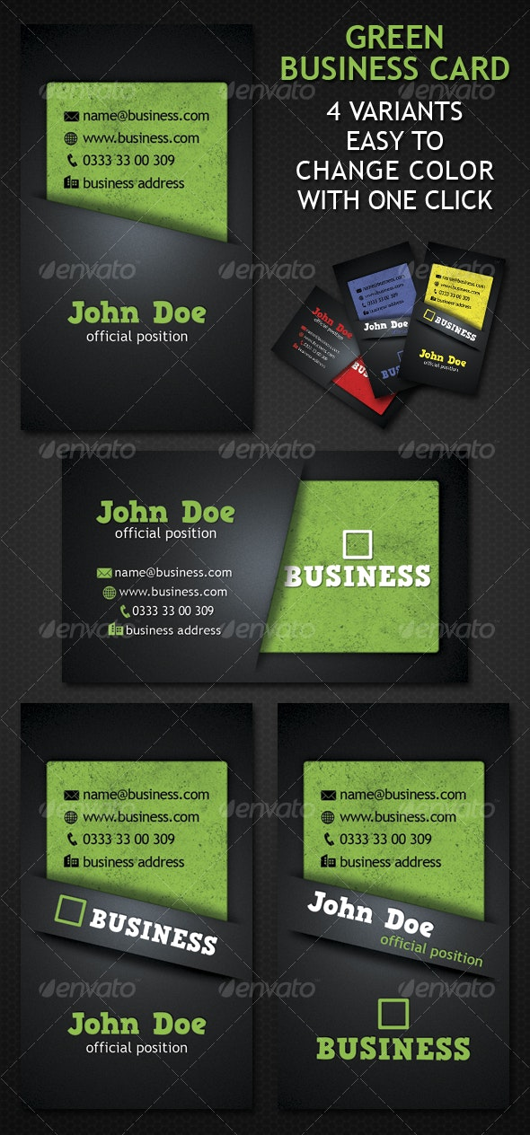 Green Business Card 4 Variation - Corporate Business Cards