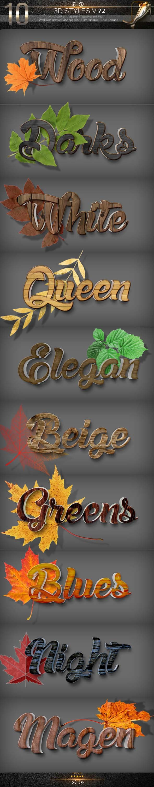 10 3D Text Styles D_72 - Text Effects Actions