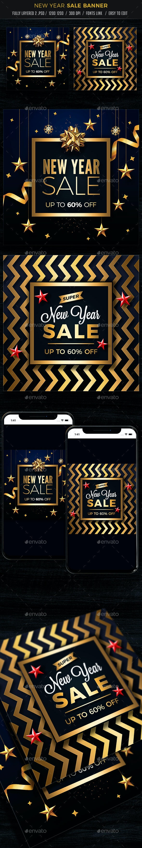 New Year Banners - Banners & Ads Web Elements