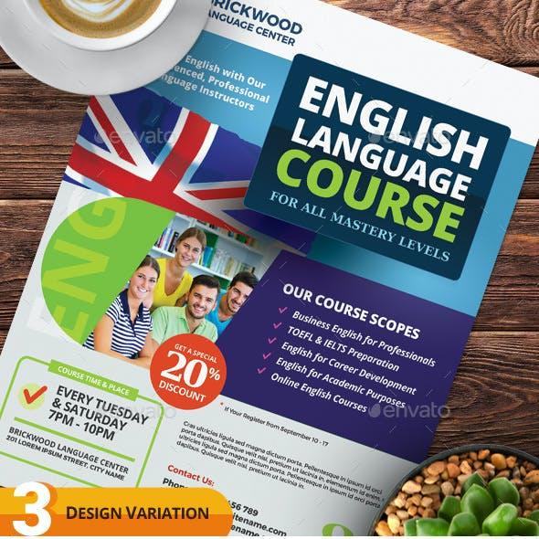 English Language Course Flyer Templates