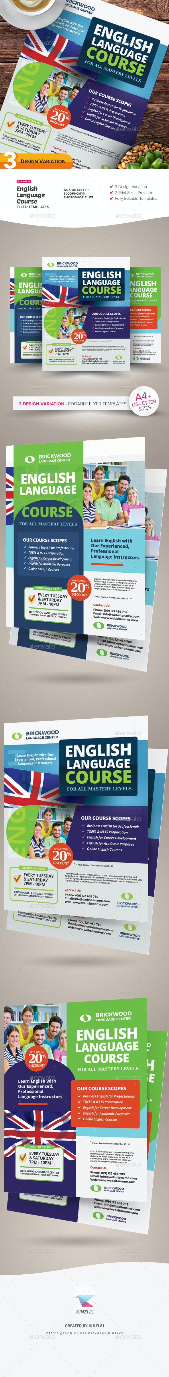 English Language Course Flyer Templates - Corporate Flyers