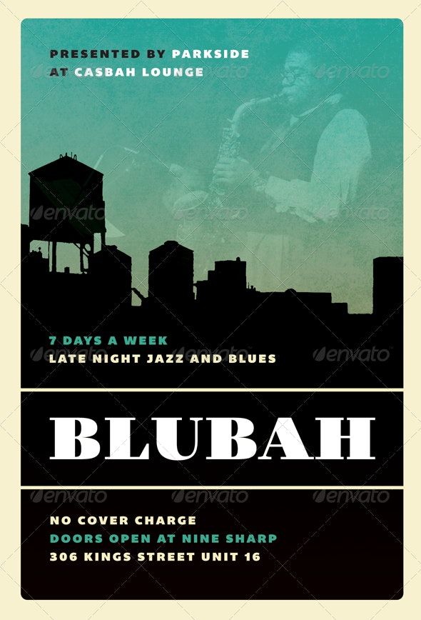 Blubah - Jazz, Blues and Swing Flyer Template - Concerts Events