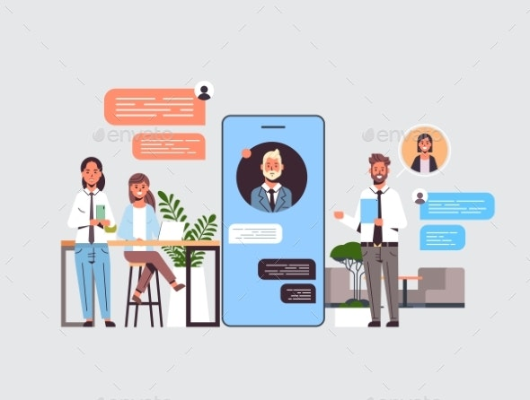 Businesspeople Using Chatting App on Digital - People Characters