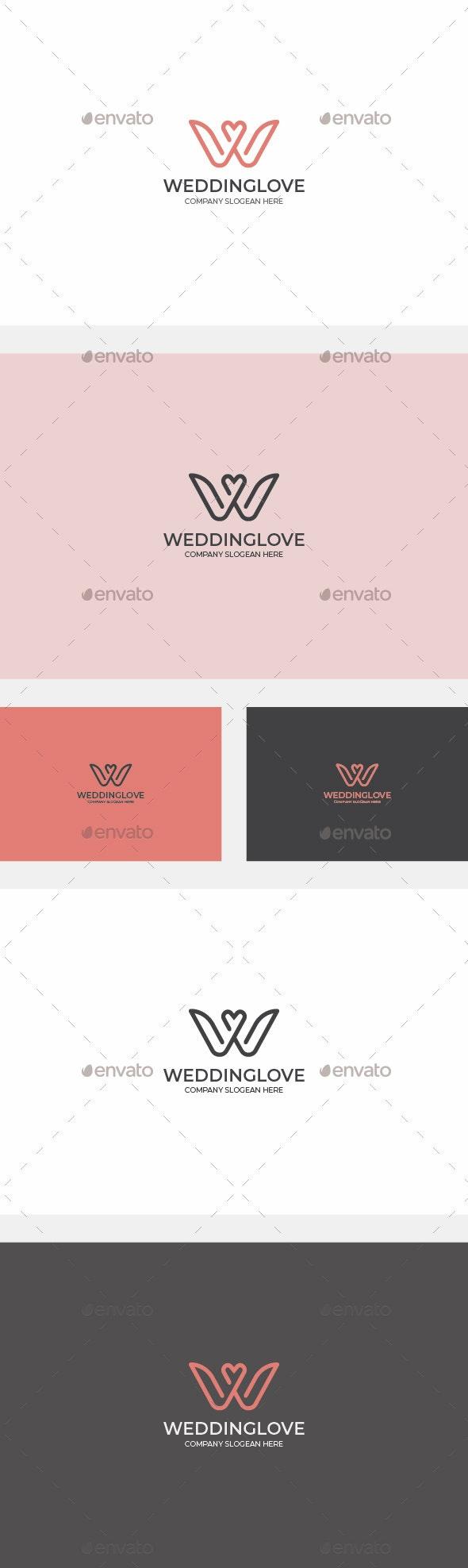 Wedding Love - Letter W Logo - Letters Logo Templates