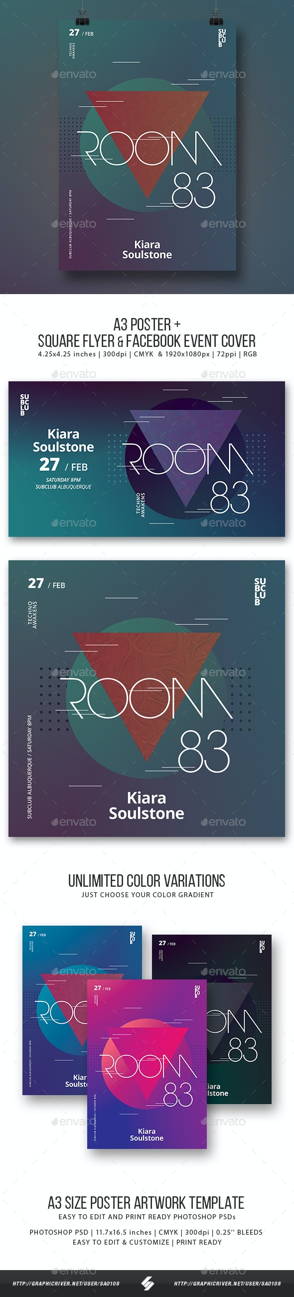 Room 83 - Minimal Party Flyer / Poster Artwork Template A3 - Clubs & Parties Events