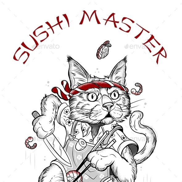Drawing of a Cat That Makes Sushi